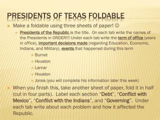 Presidents of Texas Foldable