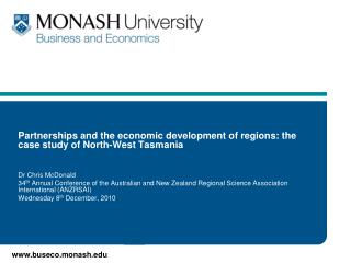 Partnerships and the economic development of regions: the case study of North-West Tasmania