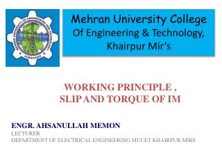 Mehran  University College Of Engineering & Technology,  Khairpur  Mir's