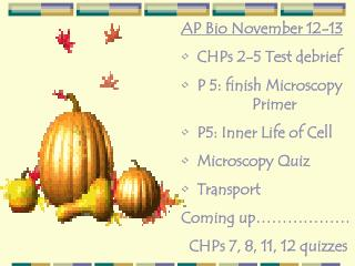 AP Bio November 12-13   CHPs 2-5 Test debrief    P 5: finish Microscopy   Primer    P5: Inner Life of Cell   Microscopy
