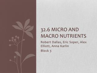32.6 Micro and Macro Nutrients