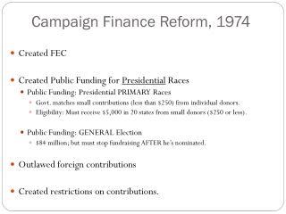 Campaign Finance Reform, 1974