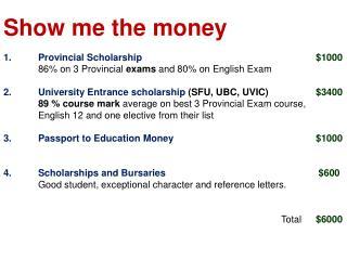 Show me the money 1.Provincial Scholarship $1000
