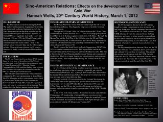 Sino-American Relations :  Effects on the development of the Cold War