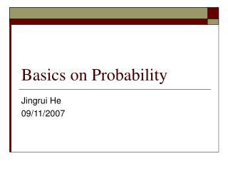 Basics on Probability