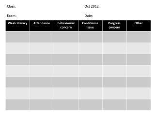 Class:Oct 2012 Exam:Date: