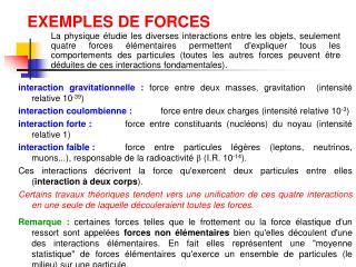 EXEMPLES DE FORCES