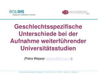Geschlechtsspezifische Unterschiede bei der Aufnahme weiterführender Universitätsstudien