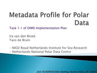 Metadata Profile for Polar Data