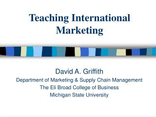Teaching International Marketing