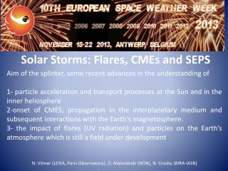 Solar Storms: Flares, CMEs and SEPS