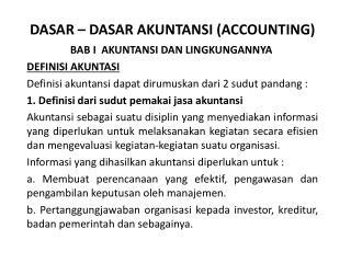 DASAR  � DASAR AKUNTANSI (ACCOUNTING)