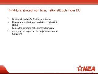 E-faktura strategi och fora, nationellt och inom EU