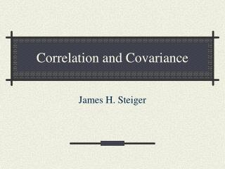 Correlation and Covariance