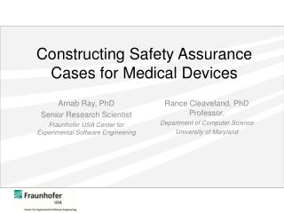 Constructing Safety Assurance Cases for Medical Devices