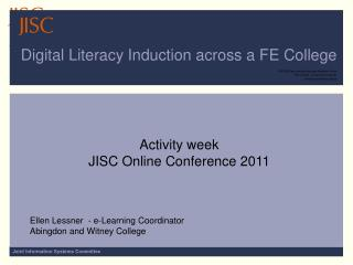 Digital Literacy Induction across a FE College