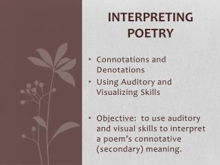 Interpreting Poetry
