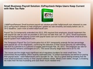 Small Business Payroll Solution: EzPaycheck Helps Users Keep
