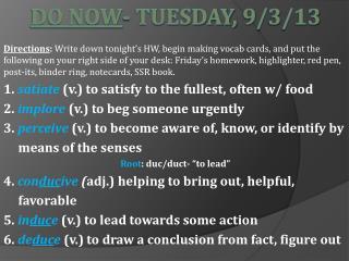 Do Now - Tuesday, 9/3/13