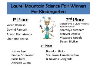 Laurel Mountain Science Fair  Winners For Kindergarten
