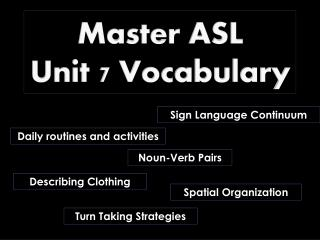 Master ASL  Unit 7 Vocabulary