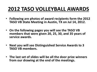 2012 TASO VOLLEYBALL AWARDS