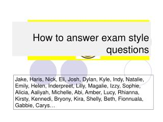 How to answer exam style questions