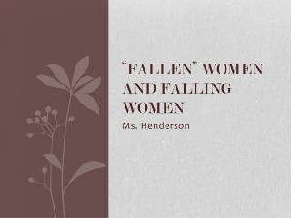 """""""Fallen"""" women and falling women"""
