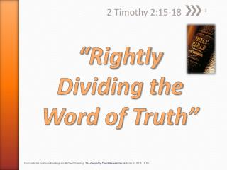 """""""Rightly Dividing the Word of Truth"""""""