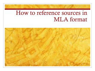 How to reference sources in MLA format