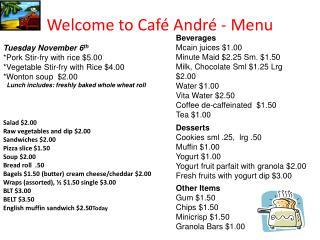 Welcome to Café André - Menu