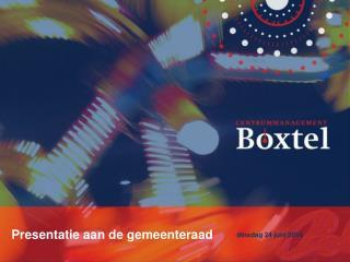 Centrummanagement Boxtel Presentatie aan de gemeenteraad dinsdag 24 juni 2014