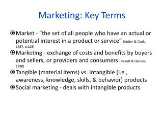 Marketing: Key  Terms