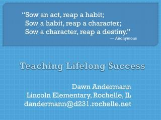 Teaching Lifelong Success