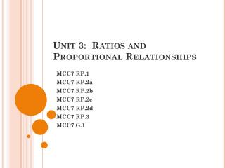Unit 3:  Ratios and Proportional Relationships