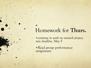 Homework for Thurs.