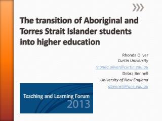 The transition of Aboriginal and Torres Strait Islander students into higher education