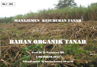 MANAJEMEN  KESUBURAN TANAH BAHAN ORGANIK TANAH Prod Dr Ir Soemarno MS 2 OKTOBER 2013