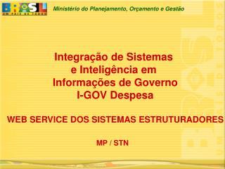 Integra  o de Sistemas  e Intelig ncia em  Informa  es de Governo I-GOV Despesa   WEB SERVICE DOS SISTEMAS ESTRUTURADORE