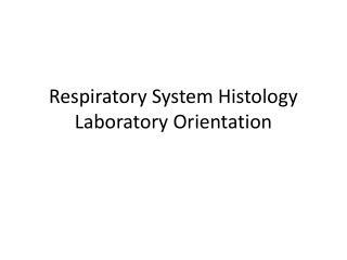Respiratory System Histology Laboratory Orientation