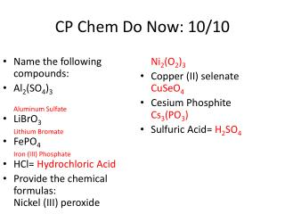 CP  Chem  Do Now: 10/10