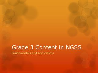 Grade 3 Content in NGSS