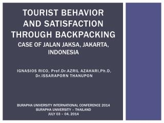 Tourist behavior  and  satisfaction  through backpacking