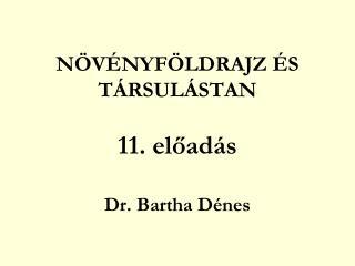 NÖVÉNYFÖLDRAJZ ÉS TÁRSULÁSTAN 11. előadás Dr. Bartha Dénes