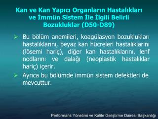 3. G n Kan ve Kan Yapici Organlarin Hastaliklari D50-D89 Endokrin, N trisyonel Ve Metabolik Hastaliklar