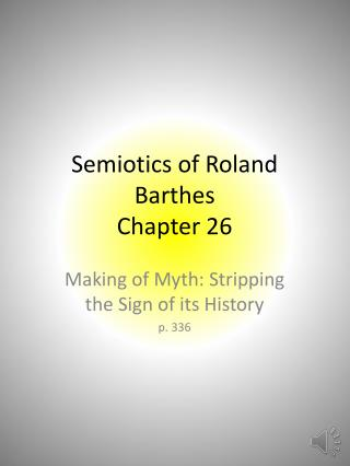 Semiotics of Roland Barthes Chapter 26