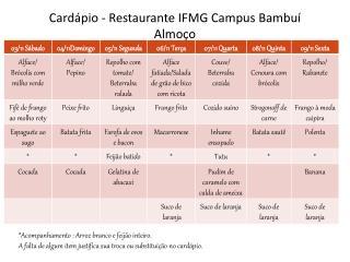 Cardápio - Restaurante IFMG Campus Bambuí Almoço