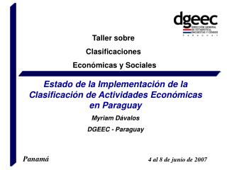 Taller sobre  Clasificaciones  Econ micas y Sociales