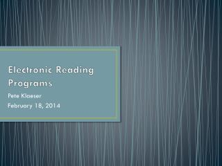 Electronic Reading Programs