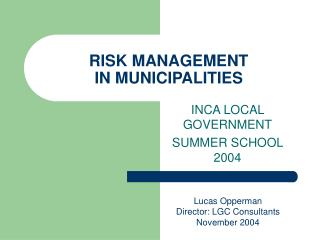 RISK MANAGEMENT IN MUNICIPALITIES
